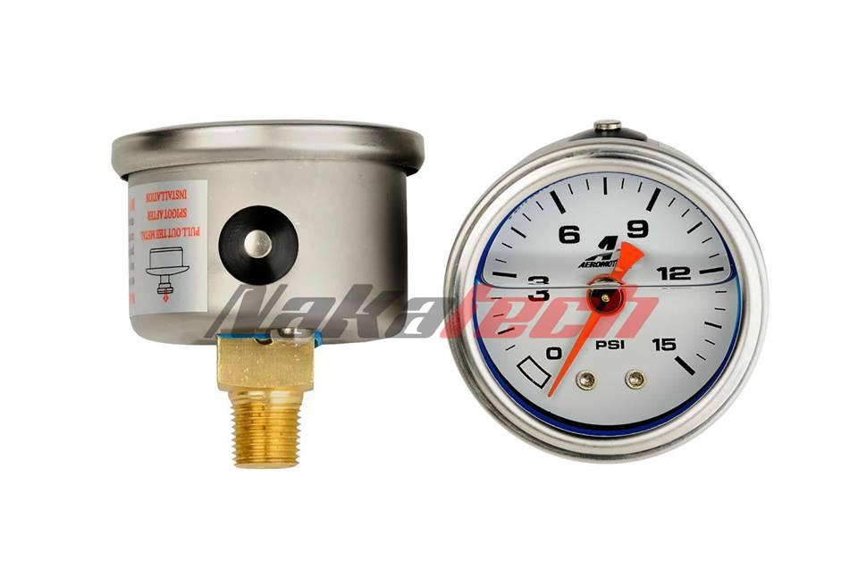 Reloj de Presión de Nafta Aeromotive 15 PSI.